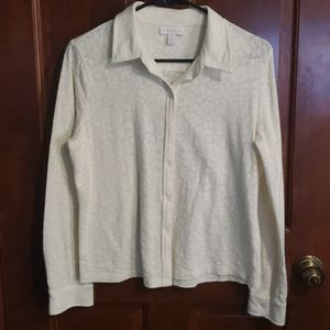 Charter Club Cream Lace Button Down Shirt